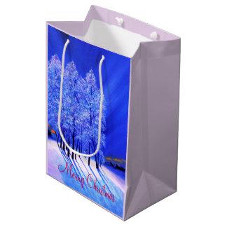 Navidad de la aurora boreal bolsa de regalo mediana