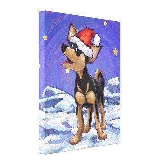 Navidad de la chihuahua impresión en tela