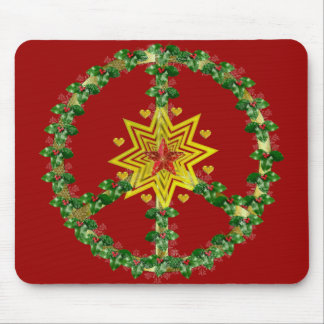 Navidad de la estrella de la paz tapete de ratón