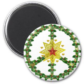 Navidad de la estrella de la paz iman de frigorífico