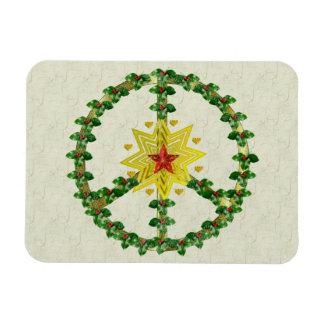 Navidad de la estrella de la paz iman rectangular