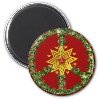 Navidad de la estrella de la paz imán redondo 5 cm