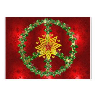 Navidad de la estrella de la paz invitación 12,7 x 17,8 cm