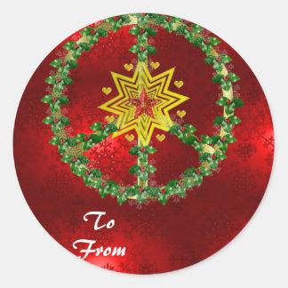 Navidad de la estrella de la paz pegatina redonda