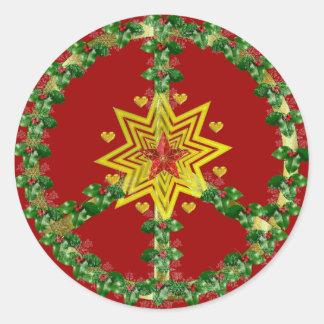 Navidad de la estrella de la paz pegatinas redondas