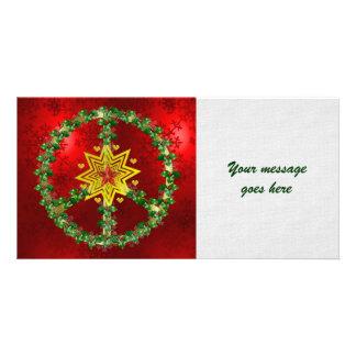 Navidad de la estrella de la paz tarjeta personal con foto