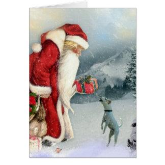 Navidad de la flora y del padre tarjetón