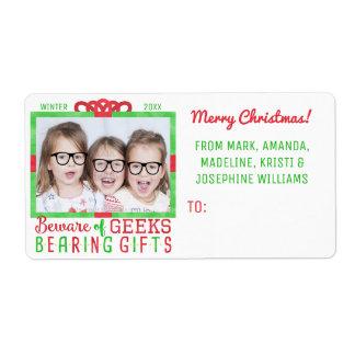 Navidad de la foto divertida del día de fiesta de etiquetas de envío
