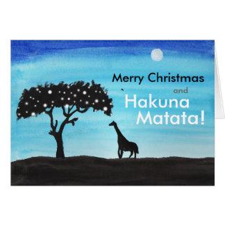 Navidad de la jirafa del safari tarjeta de felicitación