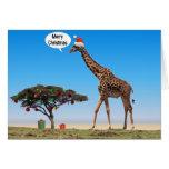 Navidad de la jirafa tarjeton