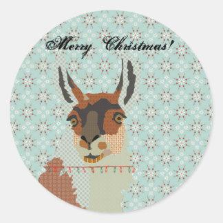 Navidad de la llama etiqueta redonda