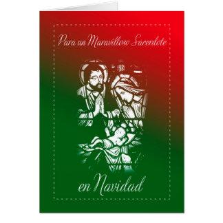 Navidad de la natividad para el sacerdote, español tarjeta de felicitación