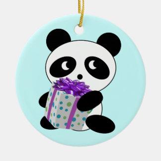 Navidad de la panda adorno navideño redondo de cerámica
