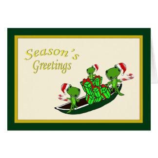 Navidad de la piragua de los cocodrilos de Santa Tarjeta