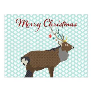 Navidad de la postal de la estrella azul del reno