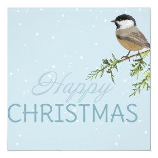 Navidad de la rama de árbol del pájaro de las invitación 13,3 cm x 13,3cm