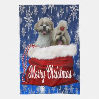 Navidad de la toalla de cocina del tzu de Shih