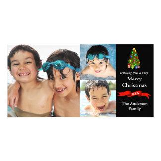 Navidad de las fotos del árbol/de la cinta 3 - tarjeta con foto personalizada