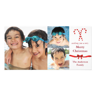 Navidad de las fotos del bastón de caramelo 3 - tarjetas personales con fotos