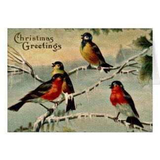 Navidad de los pájaros del vintage tarjeta de felicitación
