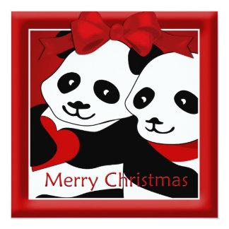 Navidad de los pares del amor de la panda que invitación 13,3 cm x 13,3cm