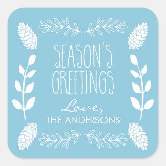 Navidad de los saludos de la estación azul clara pegatina cuadrada