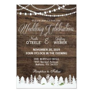 Navidad de madera del invierno del boda rústico invitación 12,7 x 17,8 cm
