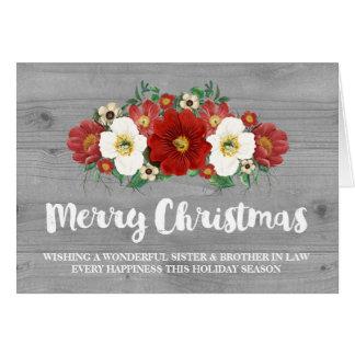 Navidad de madera gris hermana y cuñado tarjeta de felicitación