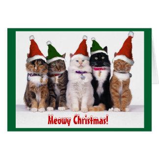 """""""Navidad de Meowy!"""" Gatos Tarjeta De Felicitación"""