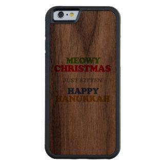 Navidad de Meowy -- Humor del día de fiesta Funda De iPhone 6 Bumper Nogal