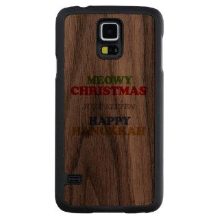 Navidad de Meowy -- Humor del día de fiesta Funda De Galaxy S5 Slim Nogal