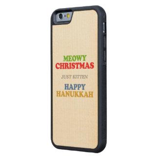 Navidad de Meowy -- Humor del día de fiesta Funda De iPhone 6 Bumper Arce