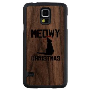 Navidad de Meowy - humor del día de fiesta Funda De Galaxy S5 Slim Nogal
