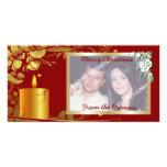 Navidad de oro vela y producto del personalizado d tarjetas con fotos personalizadas