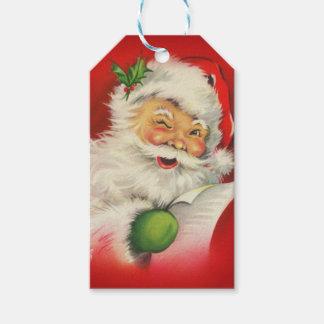 Navidad de Papá Noel del vintage Etiquetas Para Regalos