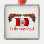 Navidad de Perú Adorno Cuadrado Plateado