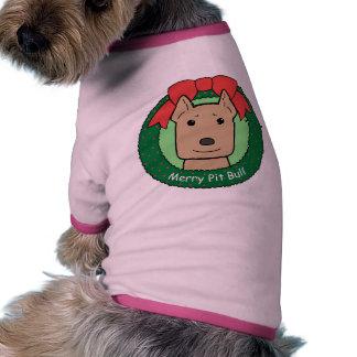 Navidad de Pitbull Camiseta De Perrito
