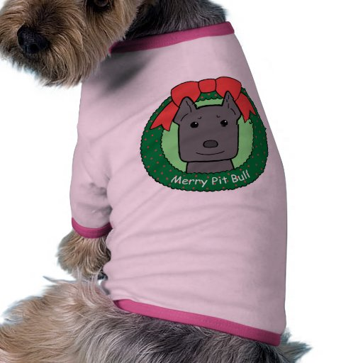 Navidad de Pitbull Camisetas De Mascota