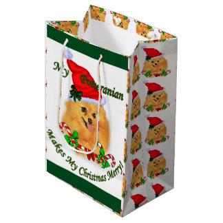Navidad de Pomeranian Bolsa De Regalo Mediana