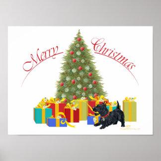 Navidad de Terrier del escocés Póster