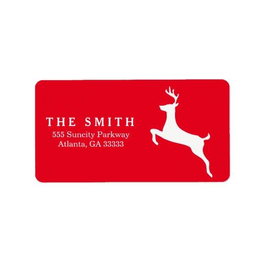 Navidad decorativo del rojo del reno del marco etiqueta de dirección