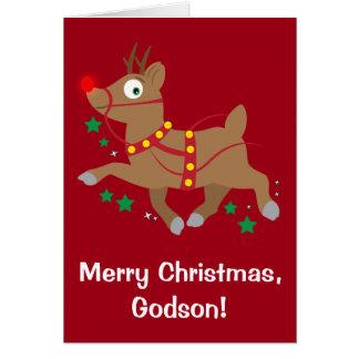 Navidad del ahijado con el reno con la nariz roja tarjeta de felicitación