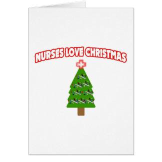 Navidad del amor de las enfermeras tarjeta
