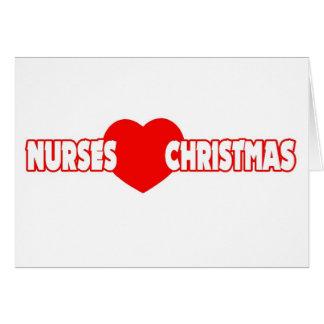 Navidad del amor de las enfermeras tarjeta de felicitación