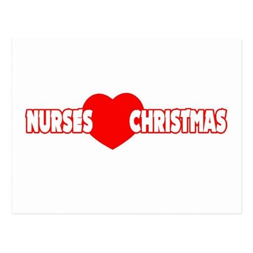 Navidad del amor de las enfermeras tarjeta postal