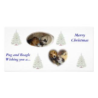 Navidad del barro amasado y del beagle tarjeta fotografica