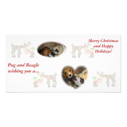 Navidad del barro amasado y del beagle tarjetas con fotos personalizadas