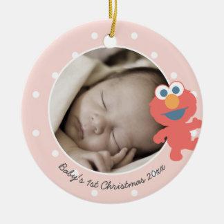 Navidad del bebé de Elmo el | el primer - añada su Adorno De Cerámica