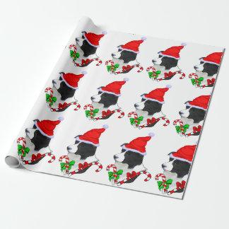 Navidad del border collie papel de regalo