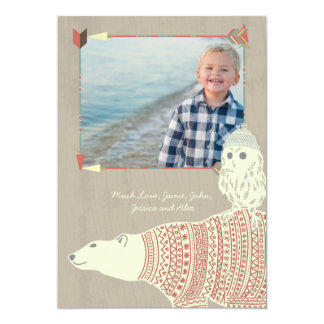 Navidad del bosque del búho del oso polar con su invitación 12,7 x 17,8 cm